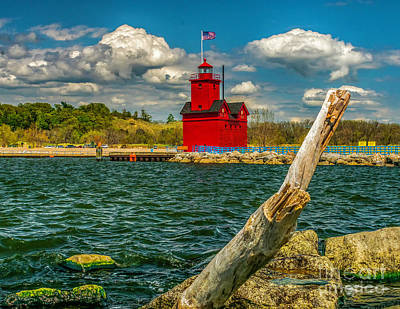 Photograph - Big Red Lighthouse In Michigan by Nick Zelinsky