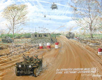 Painting - Big Red One Main Gate Di An Vietnam 1965 by Bob George