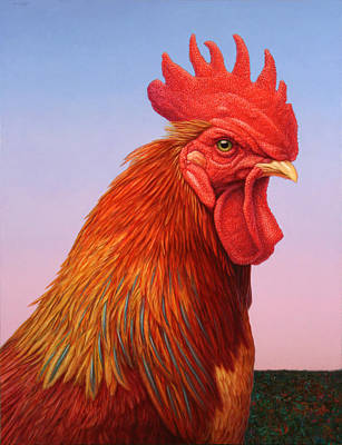 Farm Animal Painting - Big Red Rooster by James W Johnson