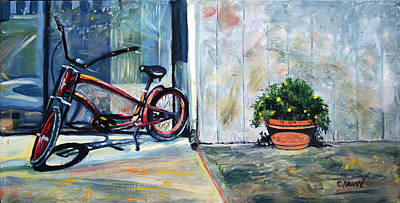 Cycles Painting - Big Red Sausalito Cruiser by Colleen Proppe