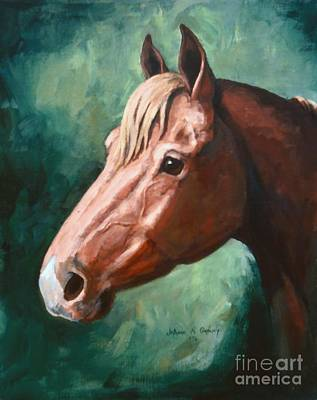 Big Red Snip    Horse Painting Art Print by JoAnne Corpany