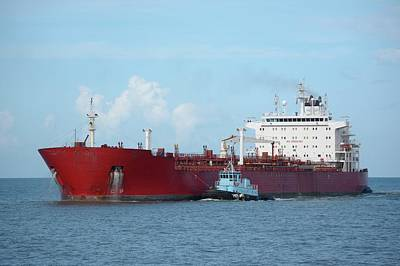 Photograph - Big Red Tanker And Tug by Bradford Martin