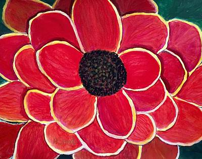 Painting - Big Red Zinnia Flower by Anne Sands
