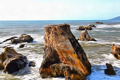 Art Print featuring the photograph Big Rocks In Grey Water Painting by Barbara Snyder