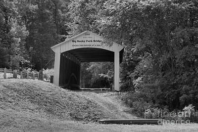 Photograph - Big Rocky Fork Covered Bridge Black And White by Adam Jewell