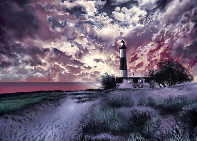 Purple Sky Painting - Big Sable Lighthouse 2 by Bekim Art