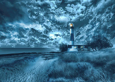 Storm Clouds Painting - Big Sable Lighthouse 3 by Bekim Art
