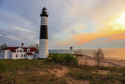 Photograph - Big Sable Point Lighthouse At Sunset by Dan Sproul