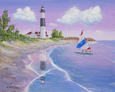 J Boat Painting - Big Sable Point Lighthouse by Jerry McElroy