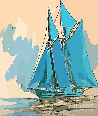 Bluenose Painting - Big Schooner Abstract by John Malone