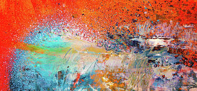 Painting - Big Shot - Orange And Blue Colorful Happy Abstract Art Painting by Modern Art Prints