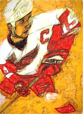 Yzerman Painting - Big Shoulders Yzerman by John Farr