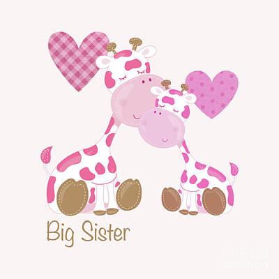 Giraffe Digital Art - Big Sister Cute Baby Giraffes And Hearts by Tina Lavoie