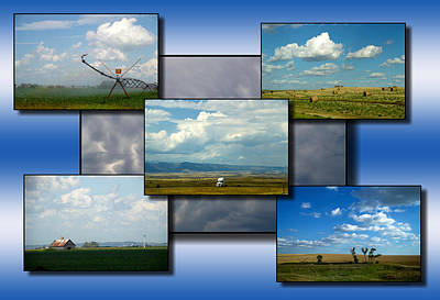 Fluffy Clouds Mixed Media - Big Sky Country Clouds Collage 01 by Thomas Woolworth