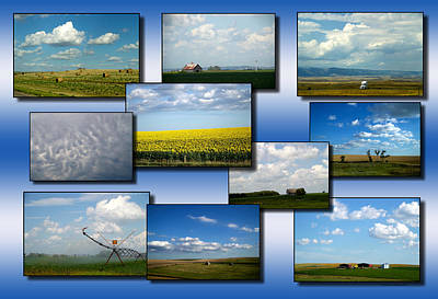Fluffy Clouds Mixed Media - Big Sky Country Clouds Collage 03 by Thomas Woolworth