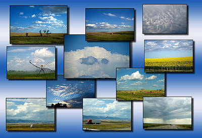 Fluffy Clouds Mixed Media - Big Sky Country Clouds Collage 04 by Thomas Woolworth