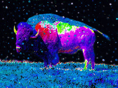 Bison Digital Art - Big Snow Buffalo by David Lee Thompson