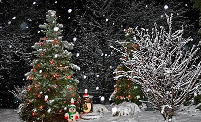 Big Snow Flakes    Holiday Card 6 Art Print by Robert Joseph