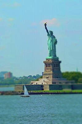 Statue Of Liberty Photograph - Big Statue, Little Boat by Sandy Taylor
