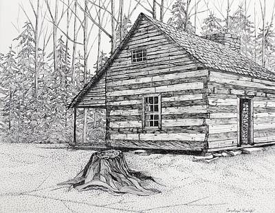 Drawing - Big Stump Cabin by Carolyn Koup