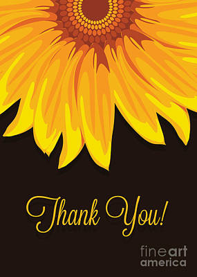 Digital Art - Big Sunflower Thank You by JH Designs