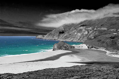 Photograph - Big Sur Beach - Bw by Lou Ford