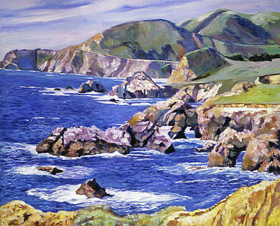 Pacific Coast Highway Painting - Big Sur California Coast by David Lloyd Glover