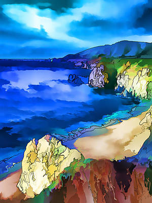 Digitally Manipulated Digital Art - Big Sur Coast by ABeautifulSky Photography