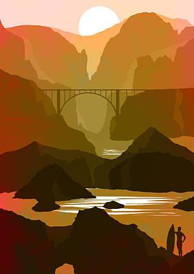 Big Sur Coastline Abstract Landscape 4 - By Diana Van Art Print by Diana Van