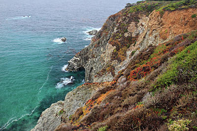 Photograph - Big Sur Colorful Sea Cliffs by Pierre Leclerc Photography