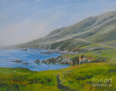 California Seascape Painting - Big Sur Garrapata Beach Oil Painting by Karen Winters