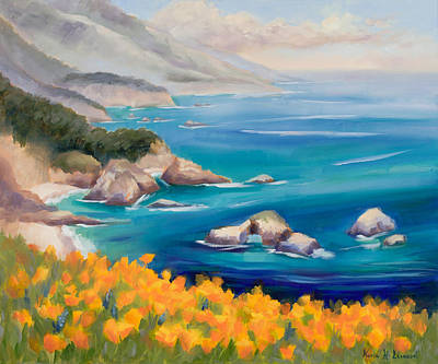 Deep Blue Painting - Big Sur  Poppies by Karin  Leonard