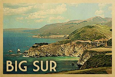 Pacific Coast Highway Wall Art - Digital Art - Big Sur Travel Poster - Vintage Travel by Flo Karp