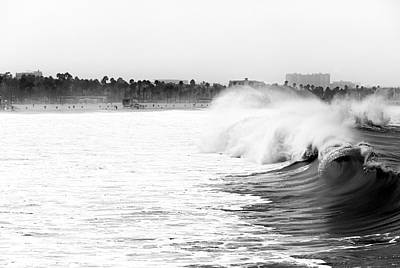 Big Surf At Santa Monica Art Print by John Rizzuto