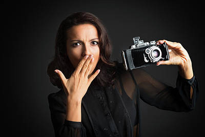 Woman With Cameras Photograph - Big Surprise With Camera by Elena Riim