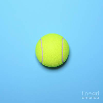 Tennis Photograph - Big Tennis Ball On Blue Background - Trendy Minimal Design Top V by Aleksandar Mijatovic