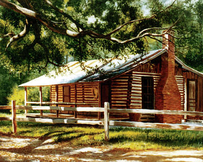 Painting - Big Thicket Information Center_the Staley Cabin by Randy Welborn