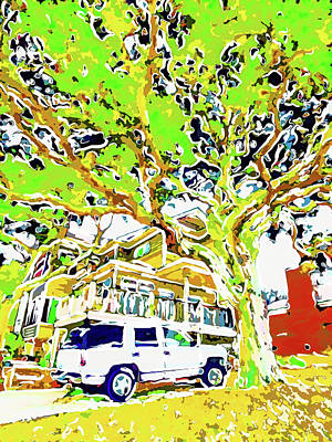 Domestic Car Painting - Big Tree In Front Of House by Lanjee Chee
