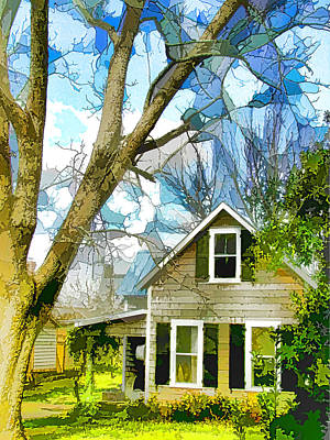 Swansboro Painting - Big Tree Standing Tall In The Front Yard by Lanjee Chee