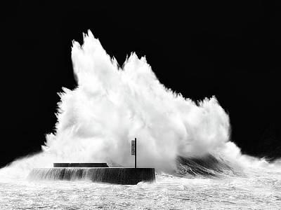 Big Wave Breaking On Breakwater Art Print