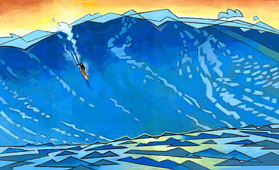 Surfer Painting - Big Wave by Douglas Simonson