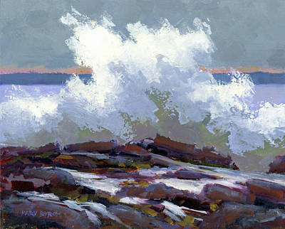 Painting - Big Waves On The Marginal Way by Mary Byrom