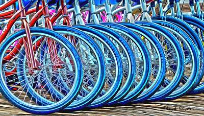 Two Wheeler Painting - Big Wheels Psychedelic  by Floyd Snyder