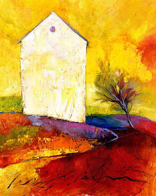 Impressionistic Landscape Painting - Big White House by Peggy Wilson