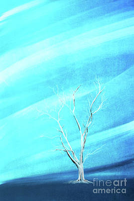 Digital Art - Big White Leafless Tree Blue Background by Jan Brons