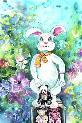 Big White Rabbit And Teddy Bears In A Flower Shop Print by Miki De Goodaboom
