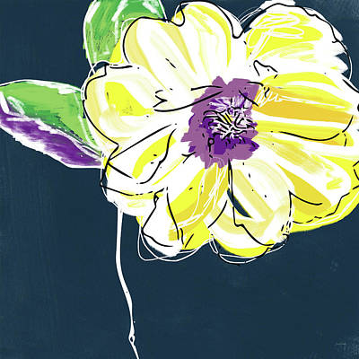 Floral Mixed Media - Big Yellow Flower- Art By Linda Woods by Linda Woods