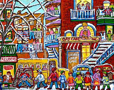 Painting - Big Yellow School Bus Teddy Bear Daycare Montreal Street Hockey Kids Winter Art Scene Carole Spandau by Carole Spandau