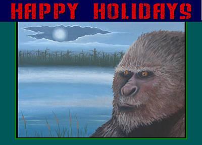 Bigfoot Happy Holidays Art Print by Stuart Swartz