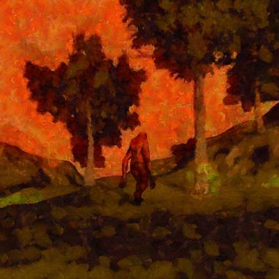 Fantasy Royalty-Free and Rights-Managed Images - Bigfoot Wandering by Esoterica Art Agency